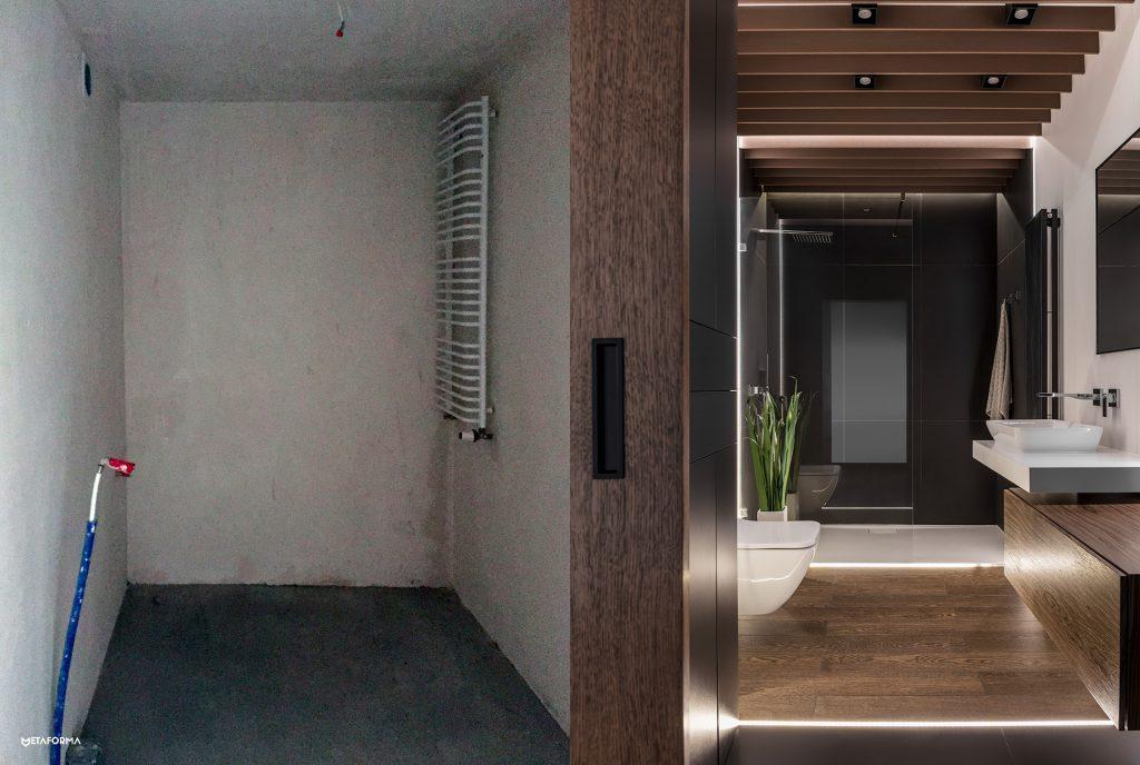 Zmieniliśmy nieco rozkład instalacyjny wnętrza łazienki, osiągnęliśmy maksimum zprzestrzeni wnętrza.