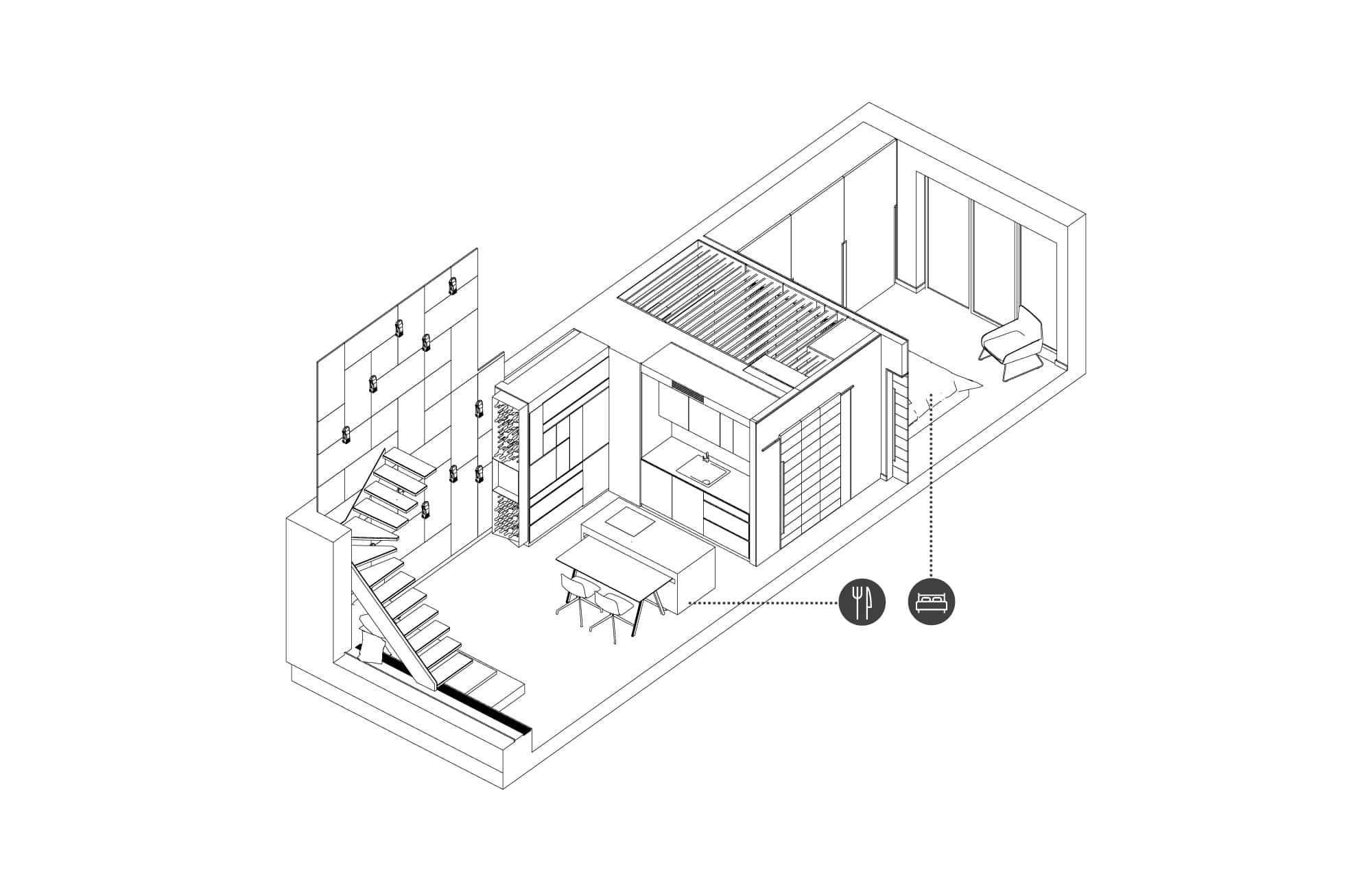 Widok aksonometryczny mieszkania wPoznaniu wraz zwidokiem napodział przestrzenny wnętrza.