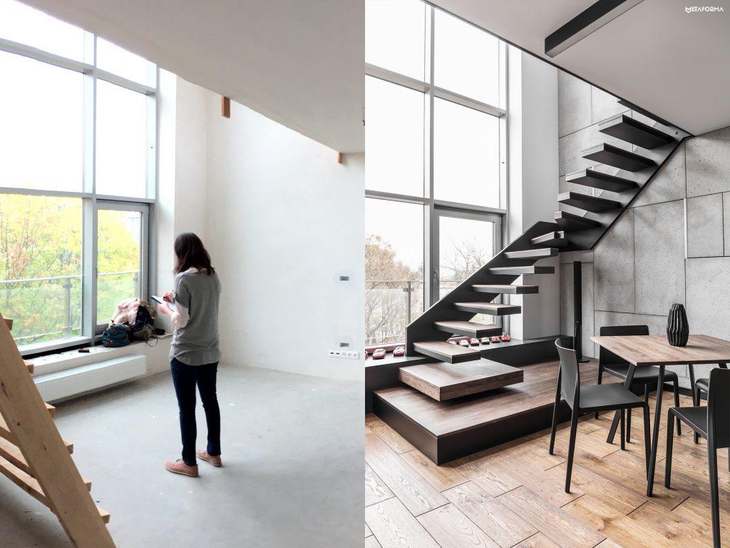 Deweloper planował zinnej strony lokalizację schodów, uznaliśmy, zelepiej wtym miejscu wykonać strefę wypoczynkową.