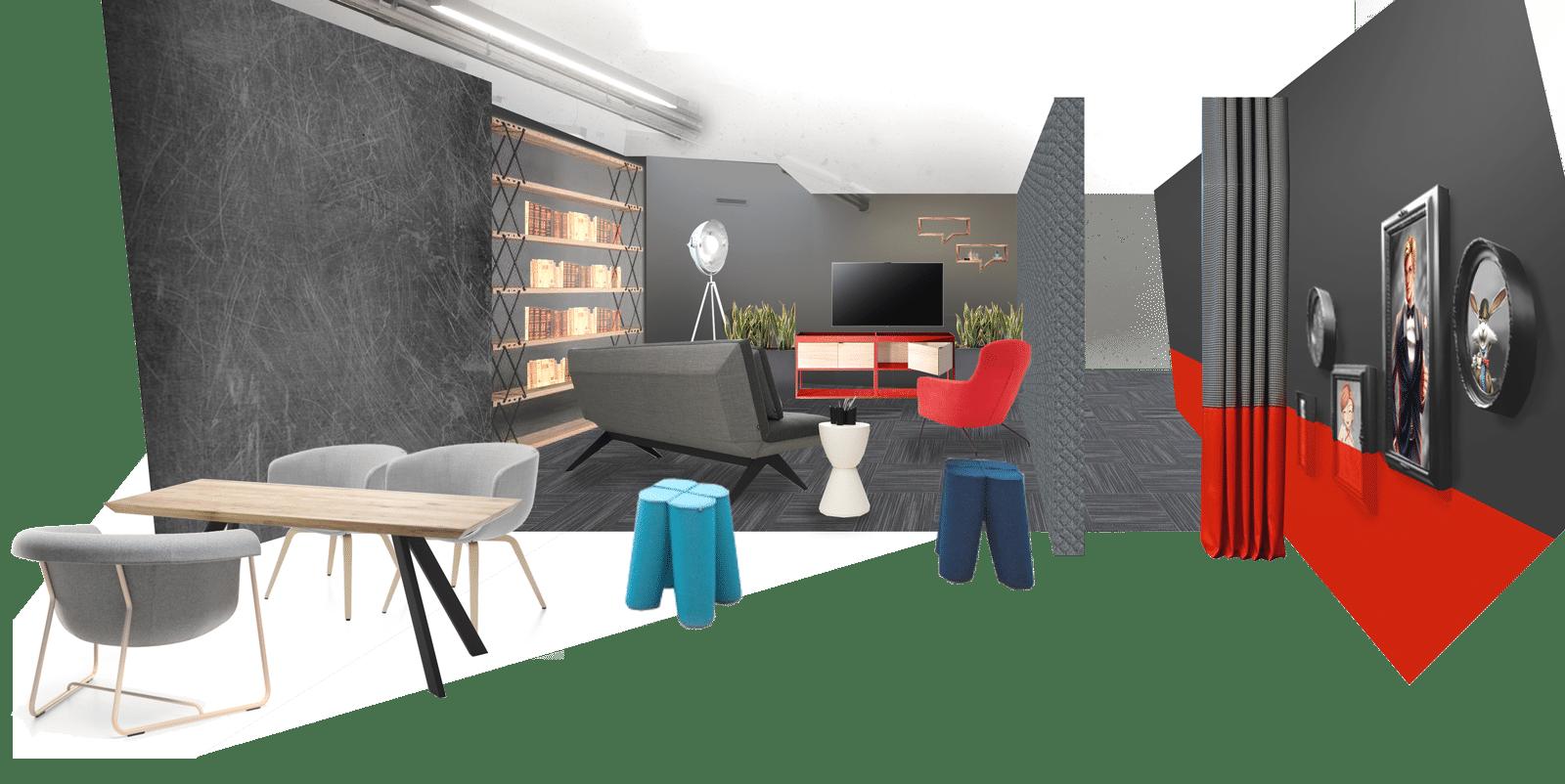 Przykład rozwiązania wnętrza game roomu wbiurze informatycznym