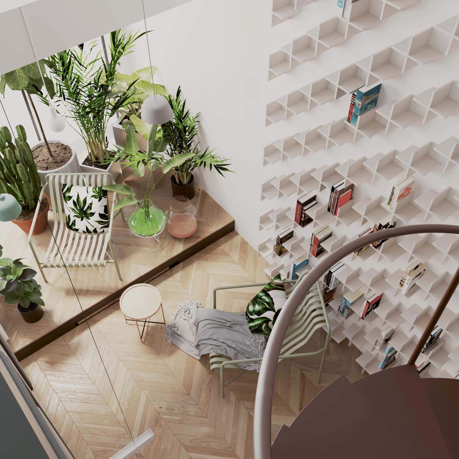 Projekt wnętrza zantresolą; ZONA Architekci