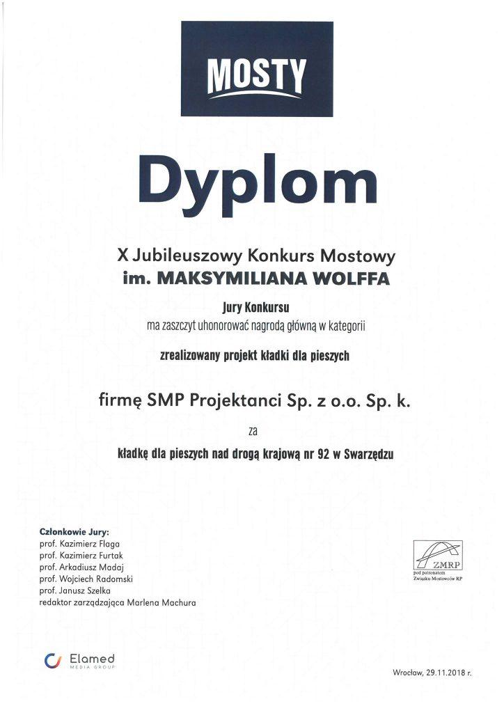 Dyplom zanajlepszą kładkę pieszą ZONA Architekci SMP Projektanci