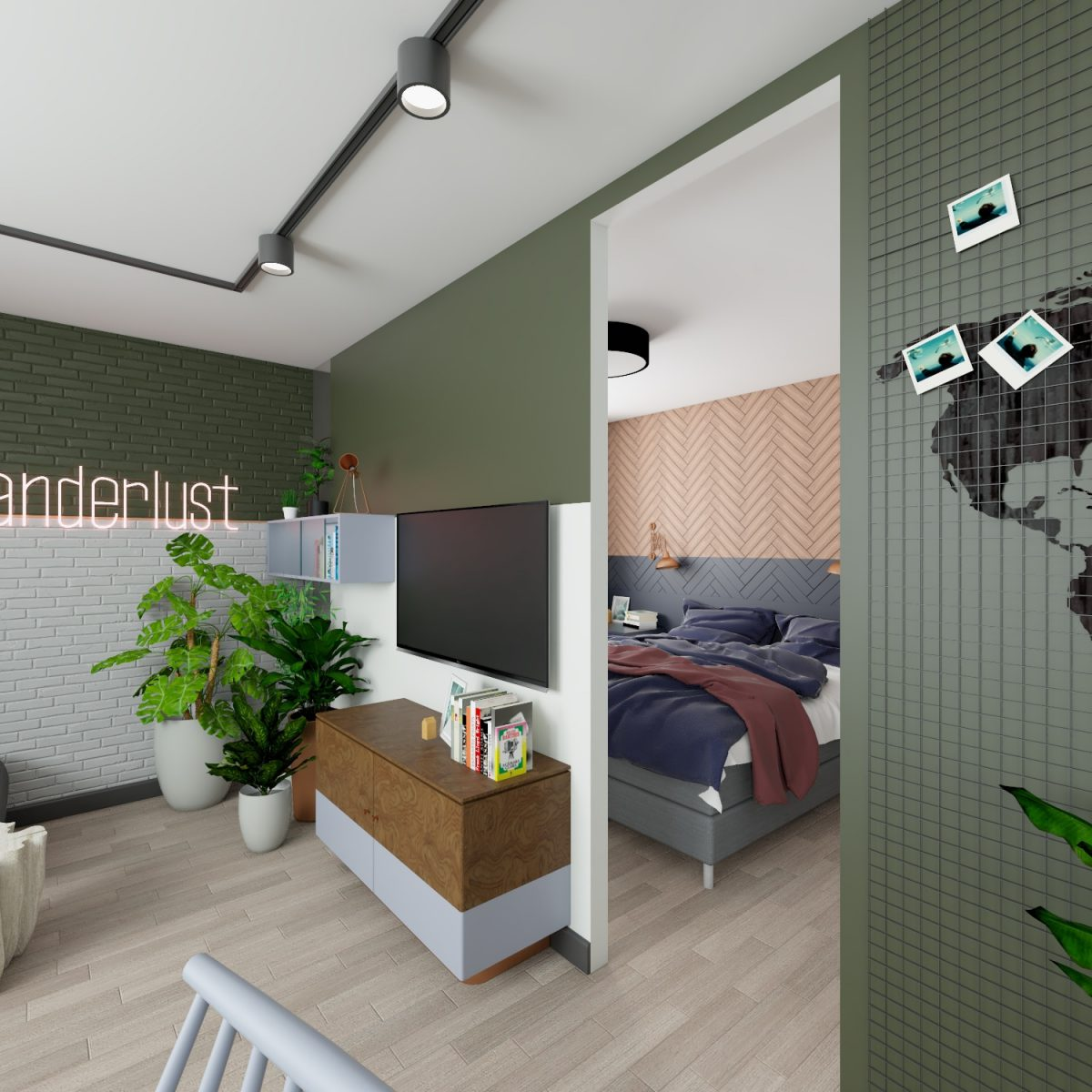 Sypialnia isalon mieszkania wkamienicy