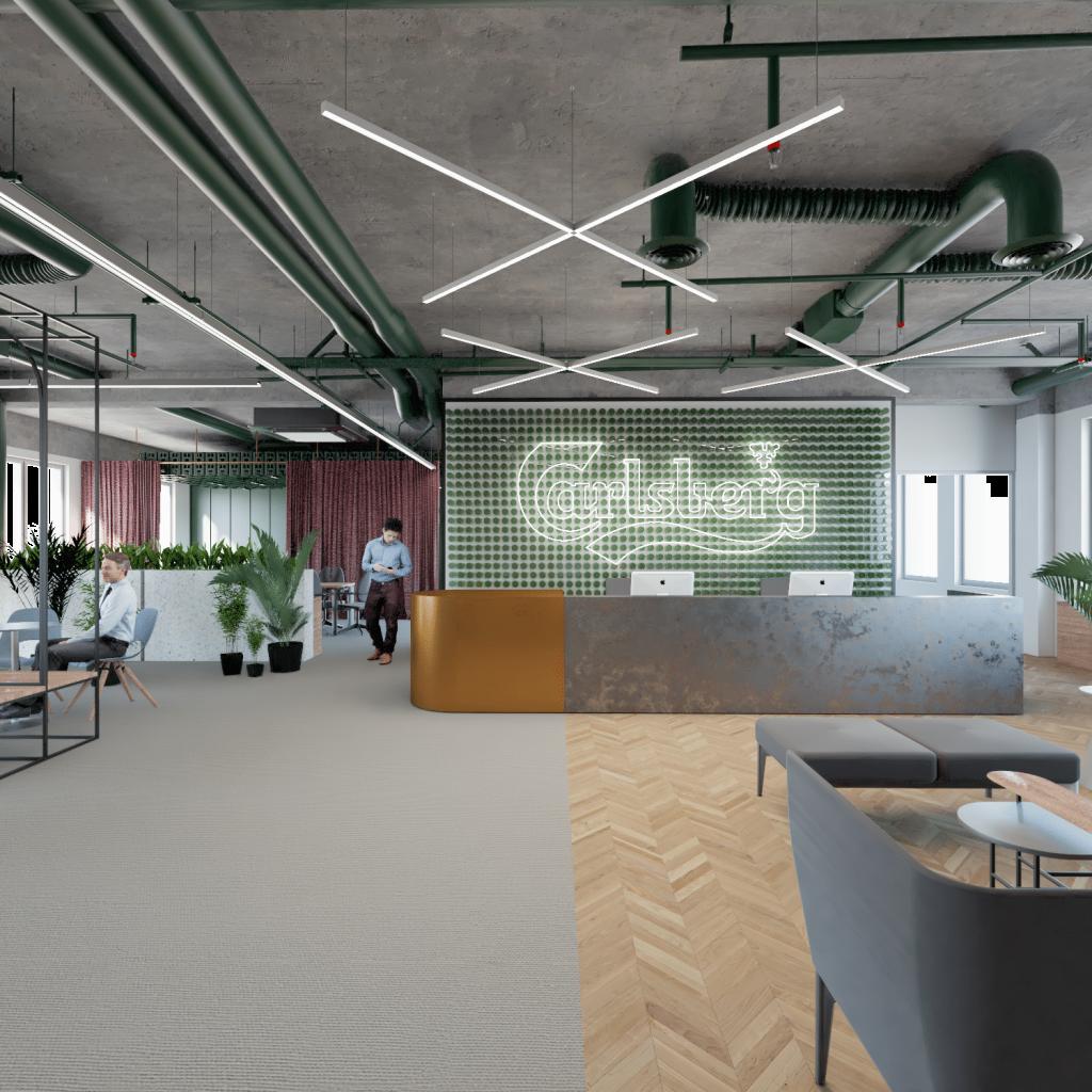 Biuro Carlsberg Shared Services - architektura wejścia dobiura zgodnie zprojektem przebudowy biura podwytyczne activity based working