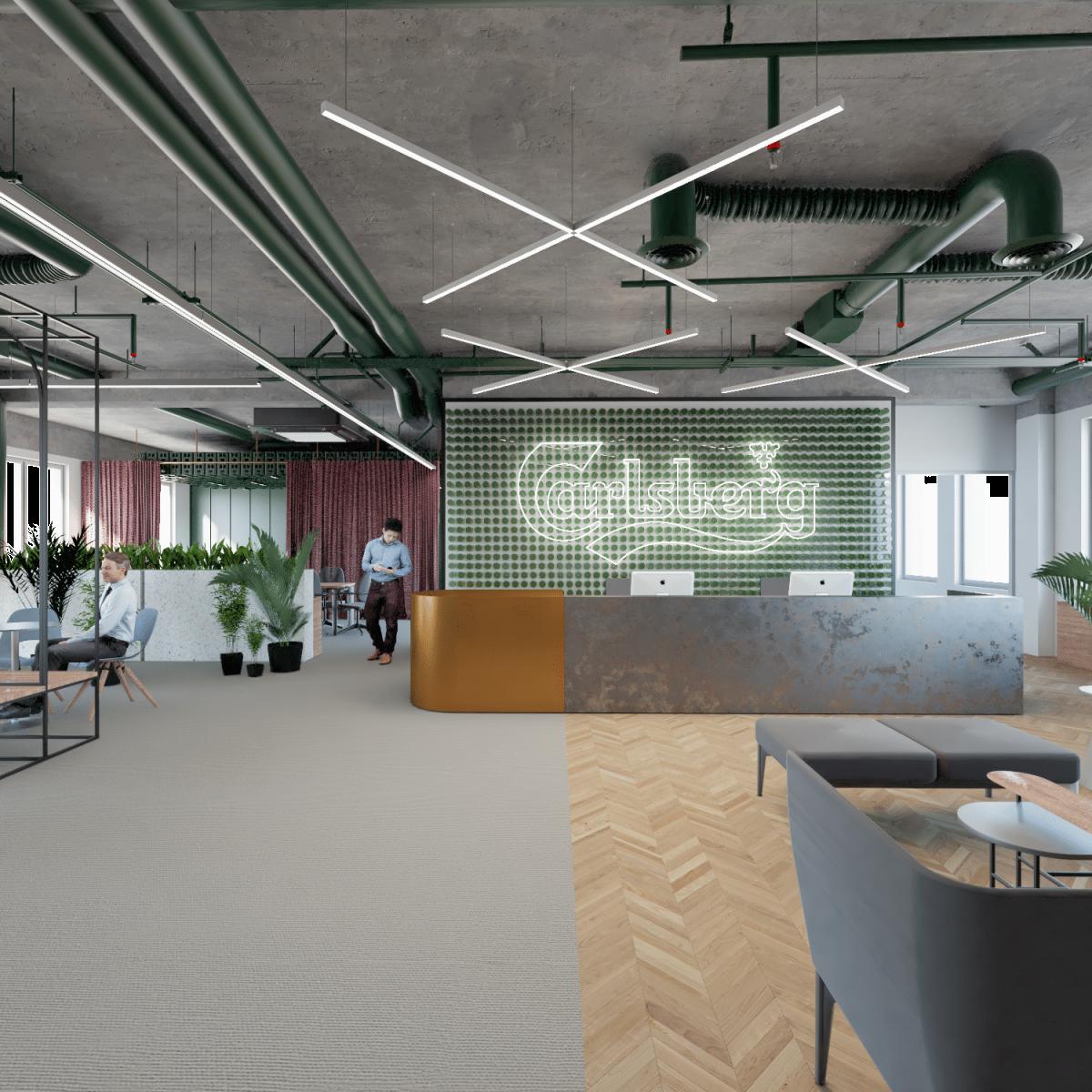 Biuro Carlsberg Shared Services - architektura wejścia do biura zgodnie z projektem przebudowy biura pod wytyczne activity based working