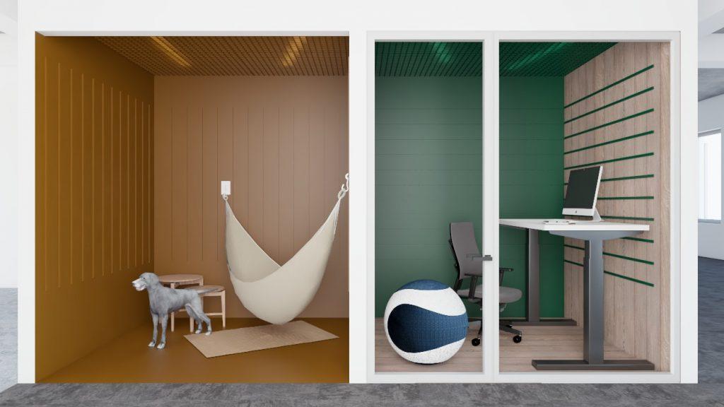 Pokoje cichej pracy wbiurze open-space wCarlsberg Shared Services - przebudowa istniejącego budynku biurowego podactivity based working wPoznaniu