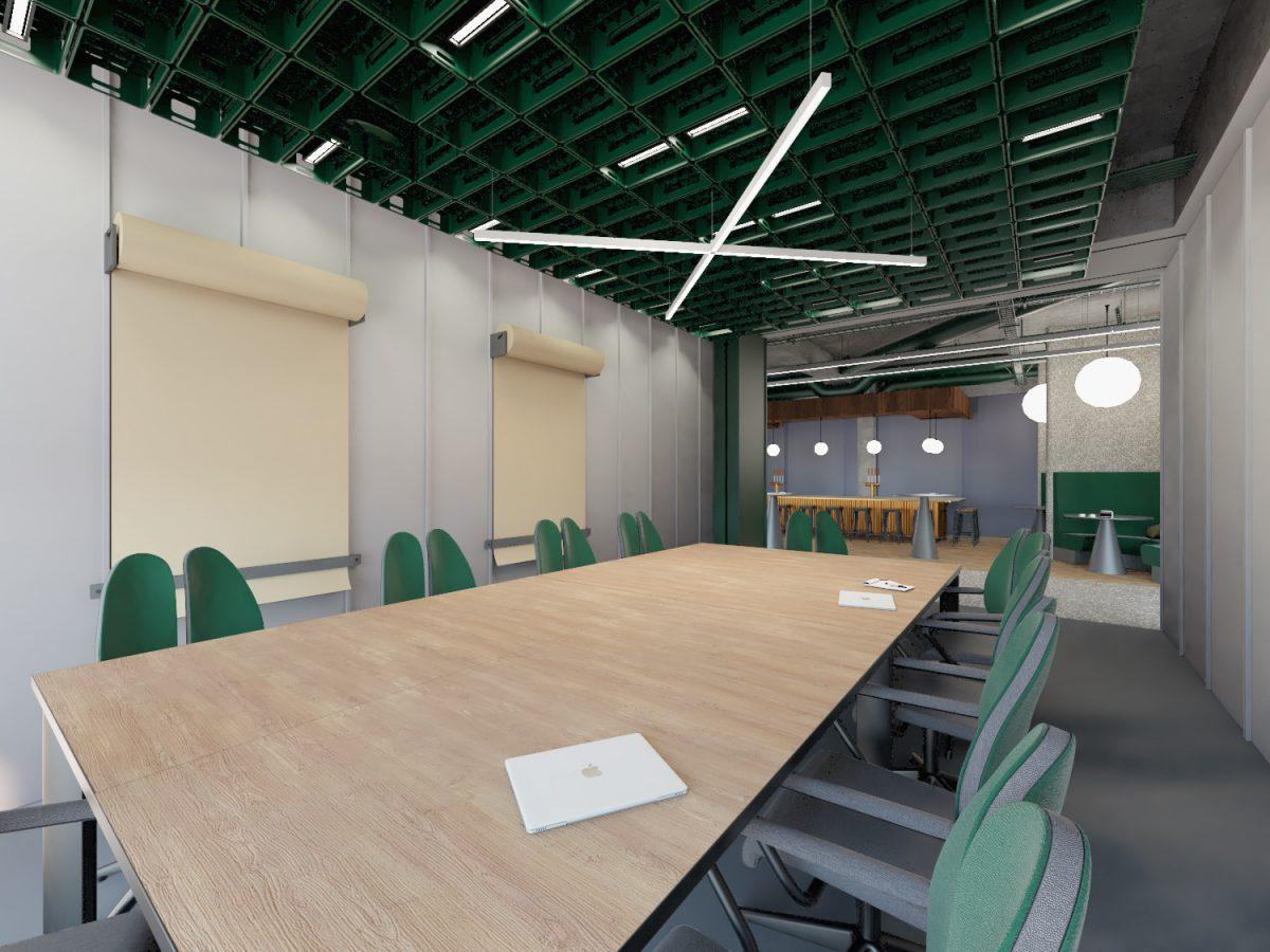 Projekt wnętrza wielofunkcyjnej sali konferencyjnej wbiurze wPoznaniu