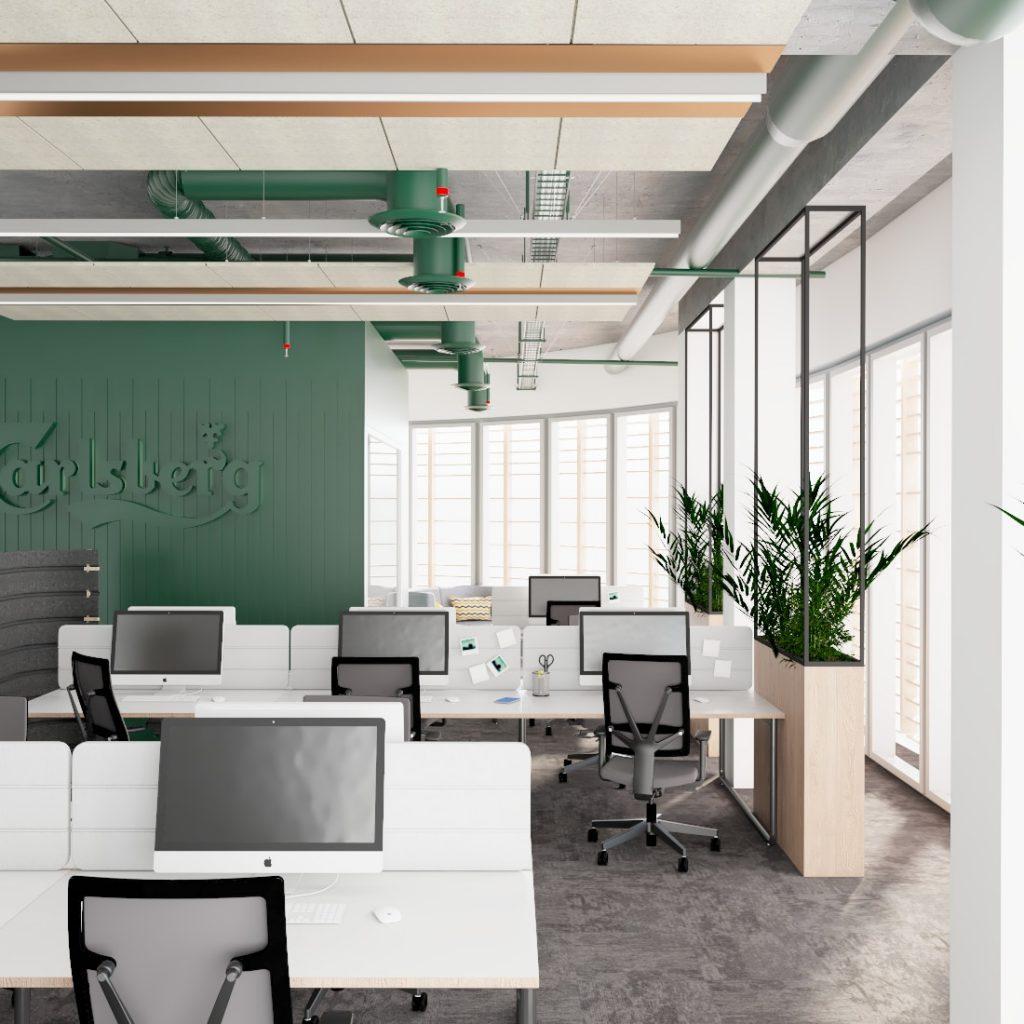 Strefa pracy wprojekcie przebudowy budynku biurowego wPoznaniu