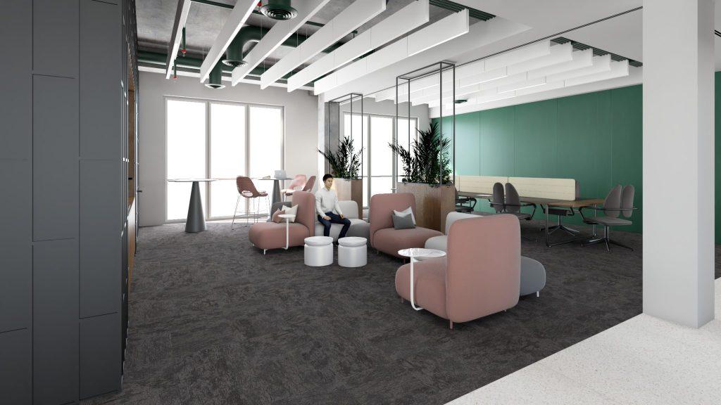 Strefa wejścia dobiura - projekt przebudowy iadaptacji biura Carlsberg Shared Services wPoznaniu podwytyczne activity based working
