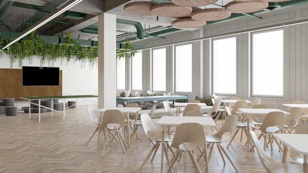 Wizualizacja kantyny wprojekcie przebudowy budynku biurowego Carlsberg Shared Services wPoznaniu