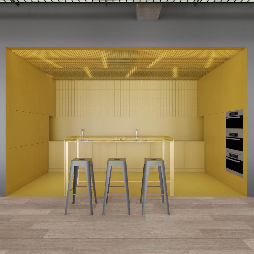 Wizualizacja strefy aneksu kuchennego wkantynie wprojekcie przebudowy budynku biurowego Carlsberg Shared Services wPoznaniu