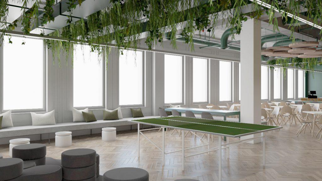 Wizualizacja strefy jadalnianej wkantynie wprojekcie przebudowy budynku biurowego Carlsberg Shared Services wPoznaniu