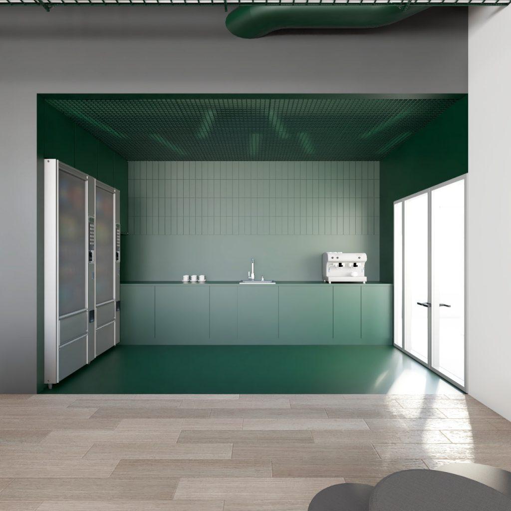 Wizualizacja strefy kawy wkantynie wprojekcie przebudowy budynku biurowego Carlsberg Shared Services wPoznaniu