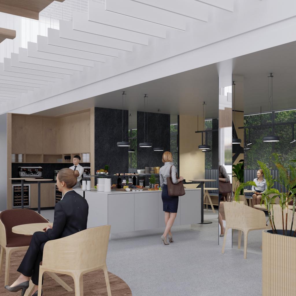 Widok naaneks - projekt wnętrza stołu szwedzkiego wpomieszczeniu VIP; przebudowa budynku zpozwoleniem nabudowę