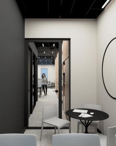 Przestrzeń biura Marmite - widok nabiuro zkantyny