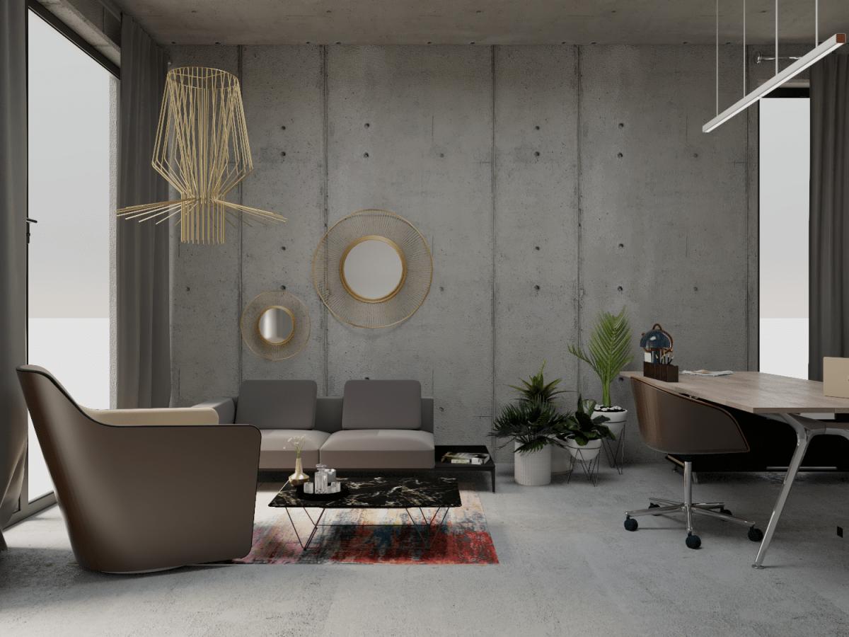 Industrialne biuro - widok na wnętrze