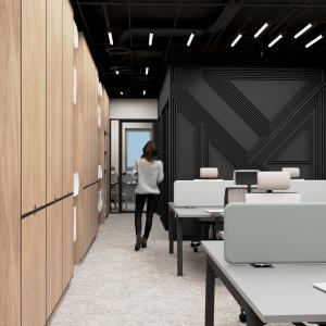 Projekt biura Marmite - widok naprzestrzeń pracy