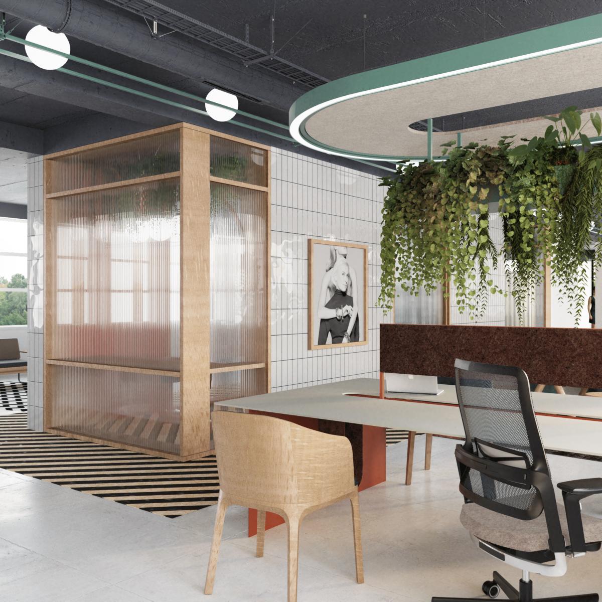 Projekt wnętrza biura - widok na salkę szybkich spotkań YES Biżuterie Poznań; Wykorzystane produkty: Nowy Styl Xilium, Fameg Arch, Biurko typu workbench własnego projektu, nadwieszenie akustyczne własnego projektu