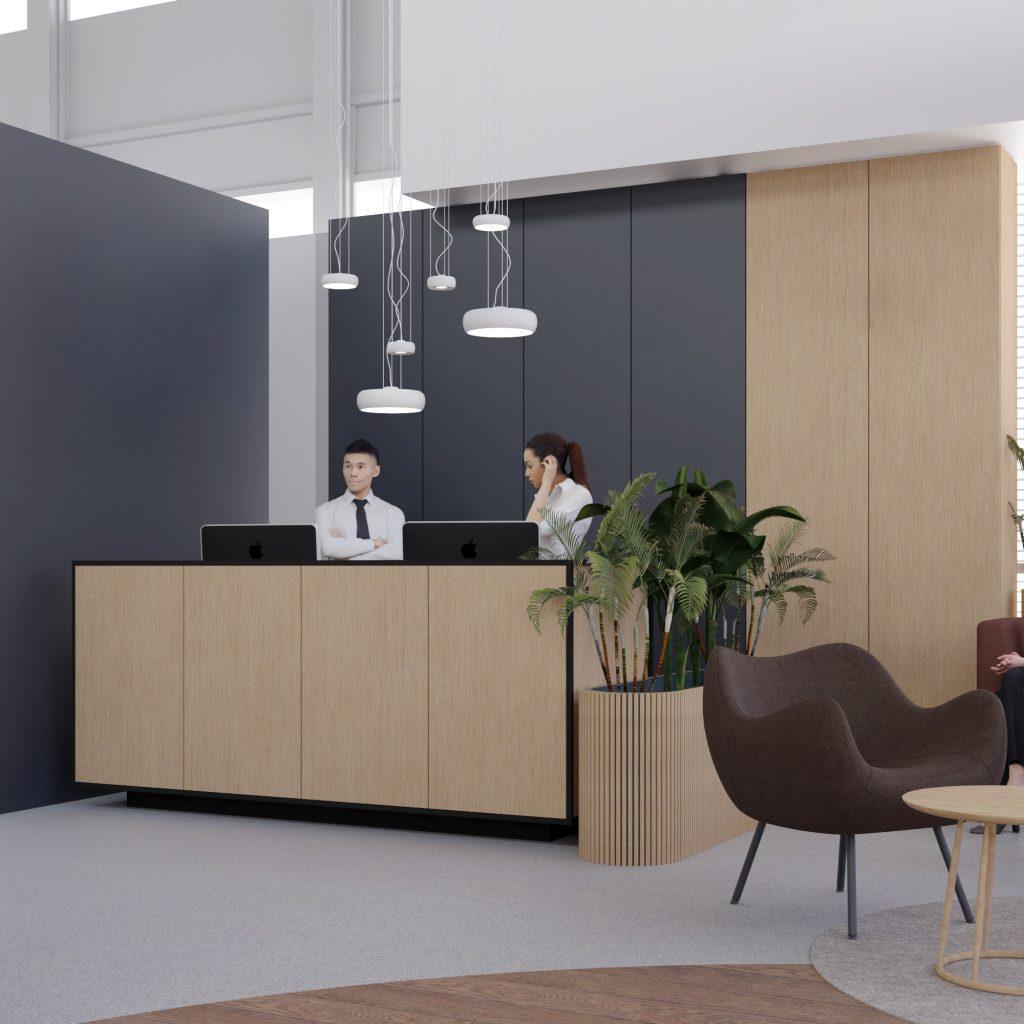 Projekt architektoniczny VIP room - strefa rejestracji klienta