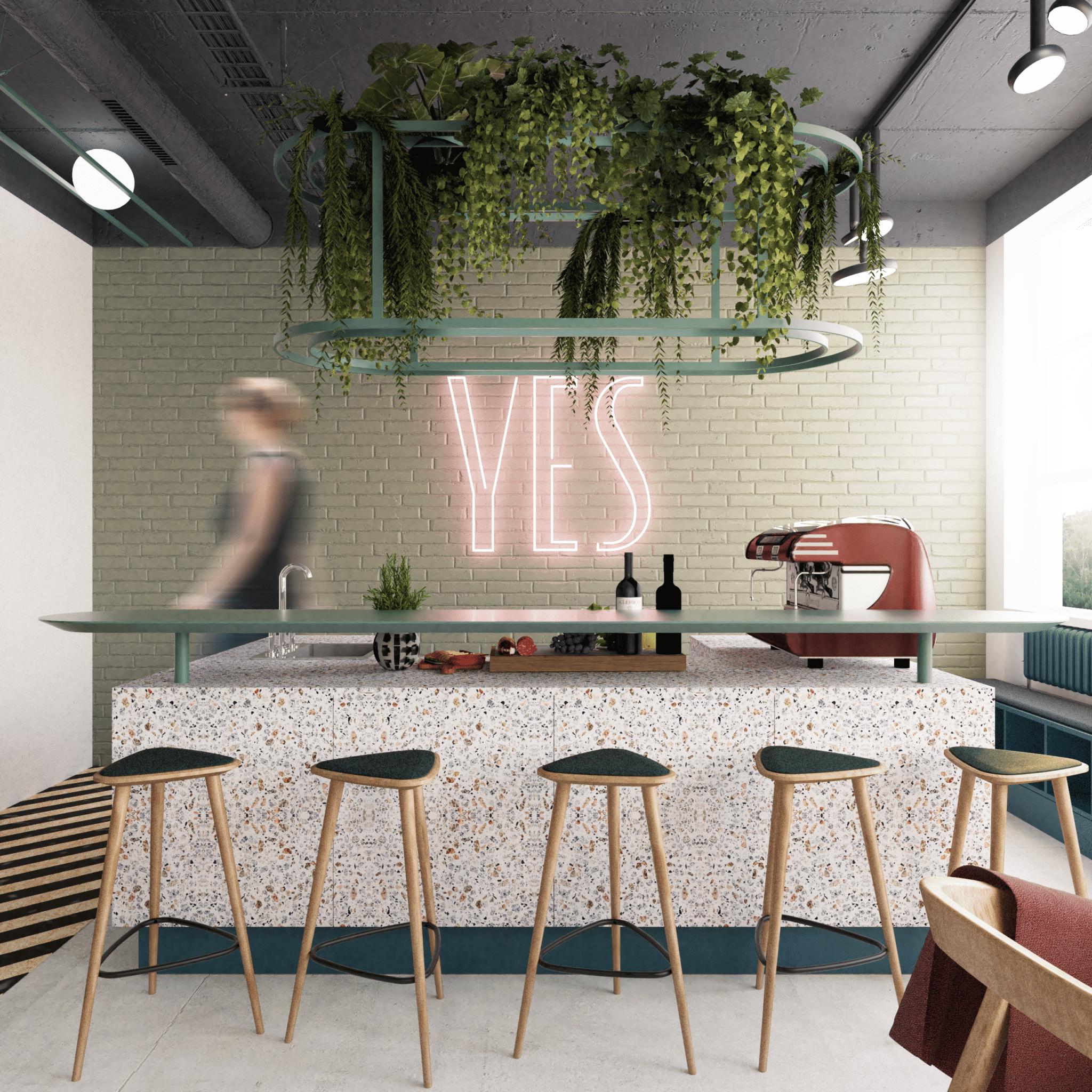 Wizualizacja projektu wnętrz strefy kuchni wbiurze open-space YES Biżuterie Poznań; przebudowa budynku biura zpozwoleniem nabudowę