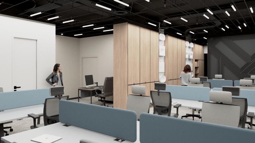 Biuro open-space - widok naukłąd biurek iwejście dostrefy pracowniczej