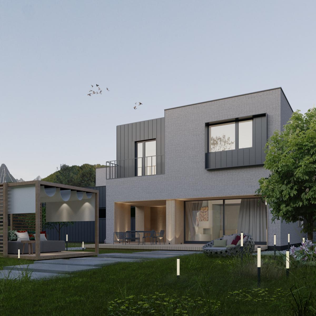 Dwukondygnacyjny dom z płaskim dachem - widok na strony tarasu domu poznańskiego