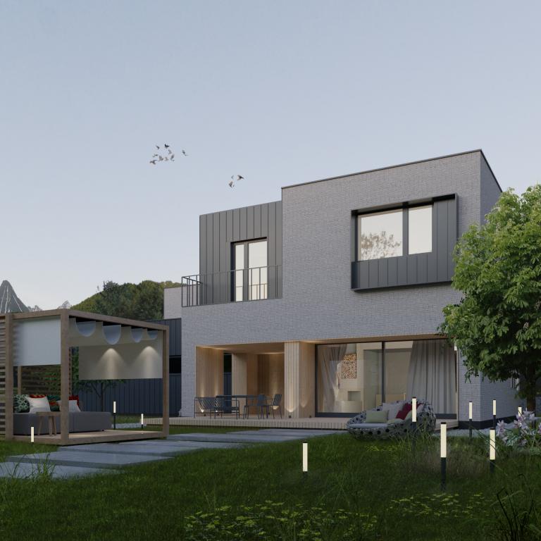 Dwukondygnacyjny dom zpłaskim dachem - widok nastrony tarasu domu poznańskiego
