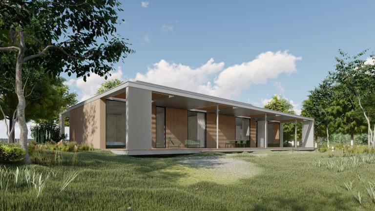 Dom parterowy podPoznaniem - widok odstrony tarasu - ZONA Architekci