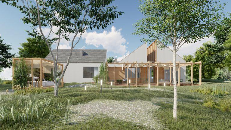 Widok nacałą elewację budynku podPoznaniem - taras zzadaszeniem idekoracją drewnianą