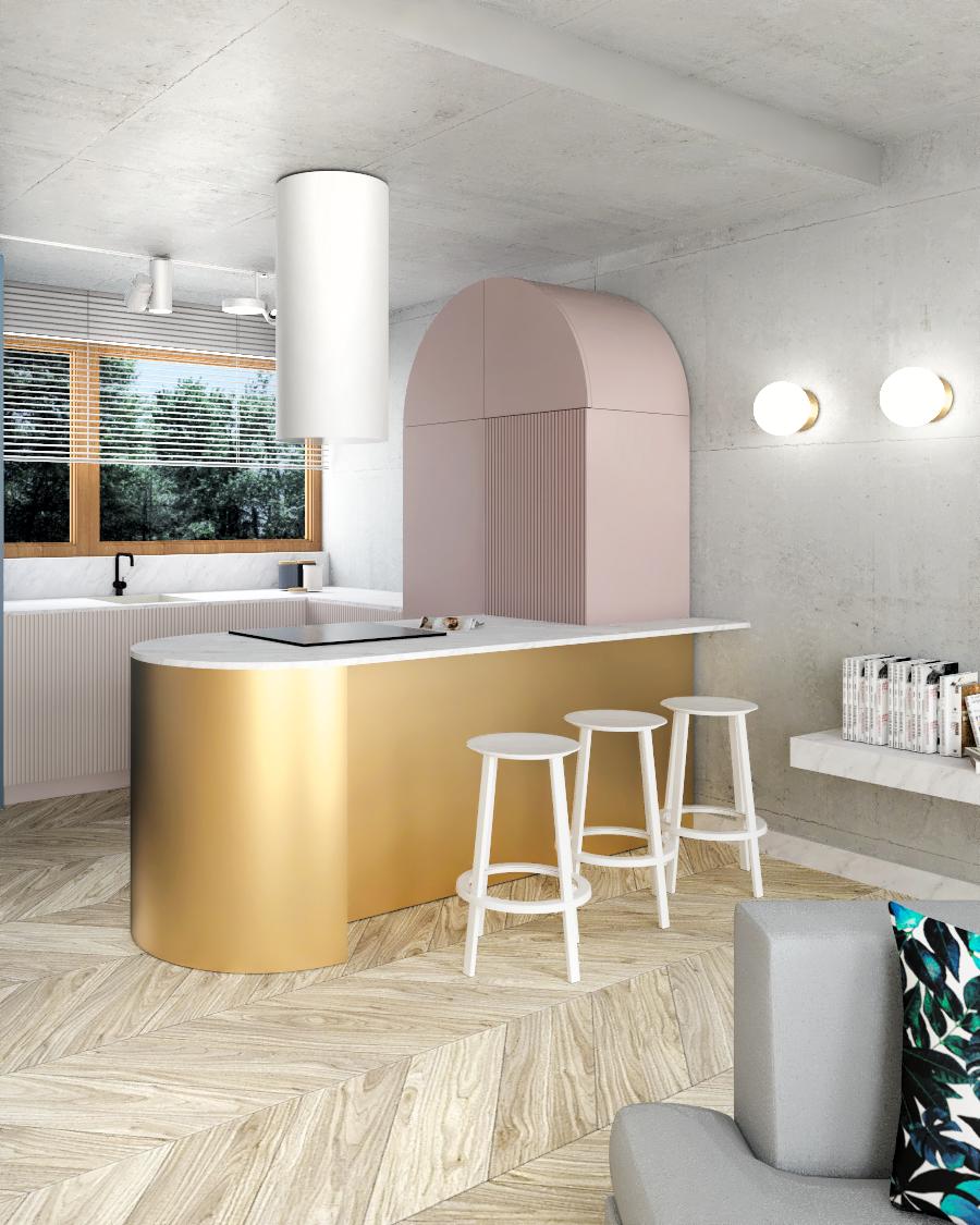 widok na aneks kuchenny w domu w Strzeszynie, projekt wnętrz ZONA Architekci