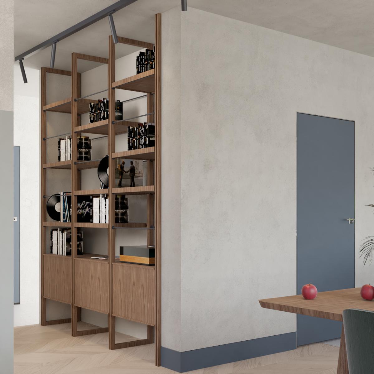 Regał wczęści dziennej wgprojektu architektonicznego domu jednorodzinnego nowoczesnego wPoznaniu