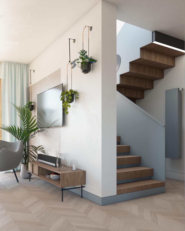 Projekt schodów drewnianych zmetalowymi poręczami
