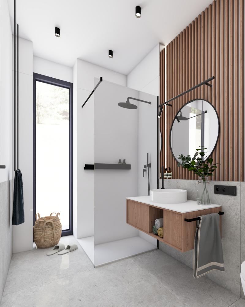 pełna wizualizacja wnętrza łazienki