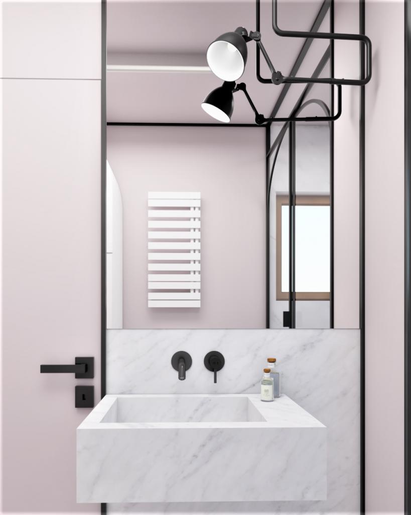 łazienka wczęści nocnej, różowa zmetalowymi dodatkami