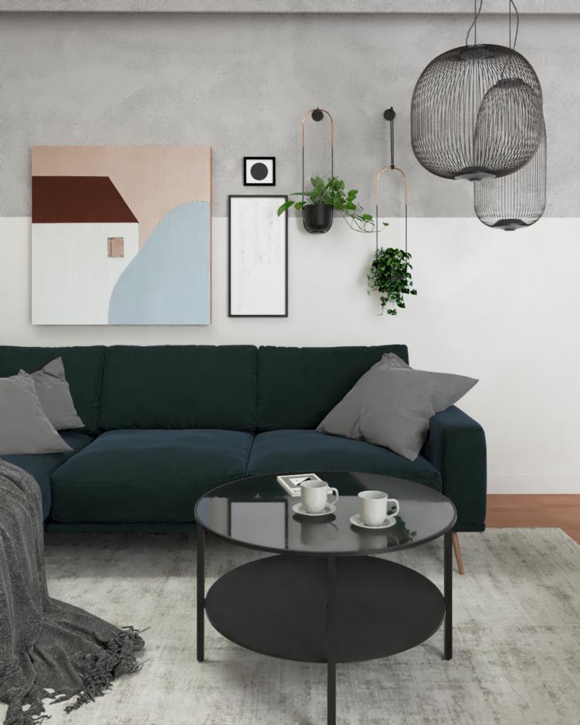 sofa wpokoju gościnnym wSiedlcach ZONA Architekci