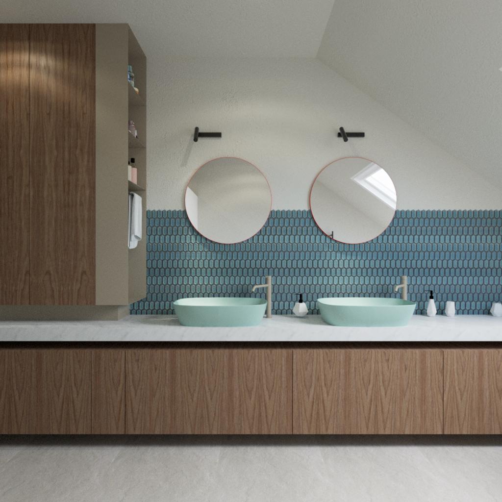Projekt łazienki wdomu jednorodzinnym wPoznaniu