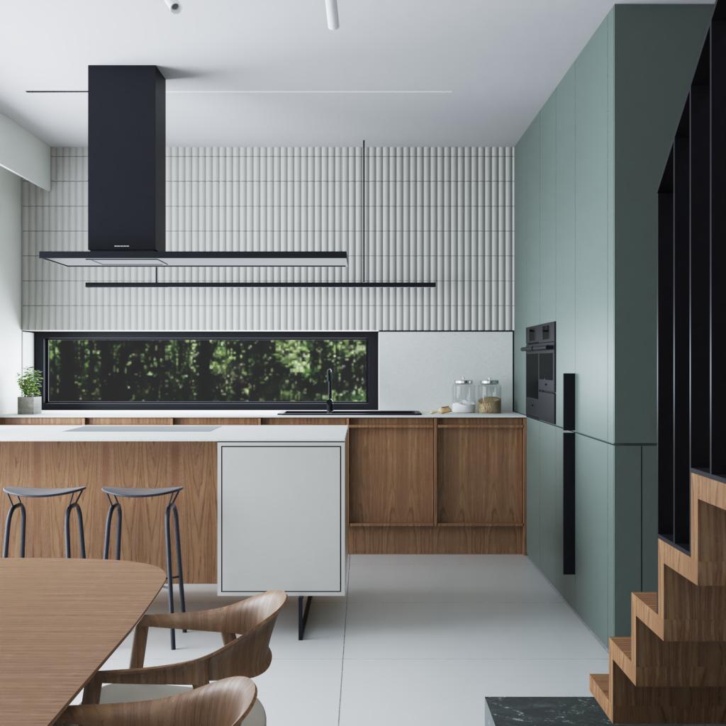 widok nablat waneksie kuchennym wdomu nowoczesnym wSiedlcu