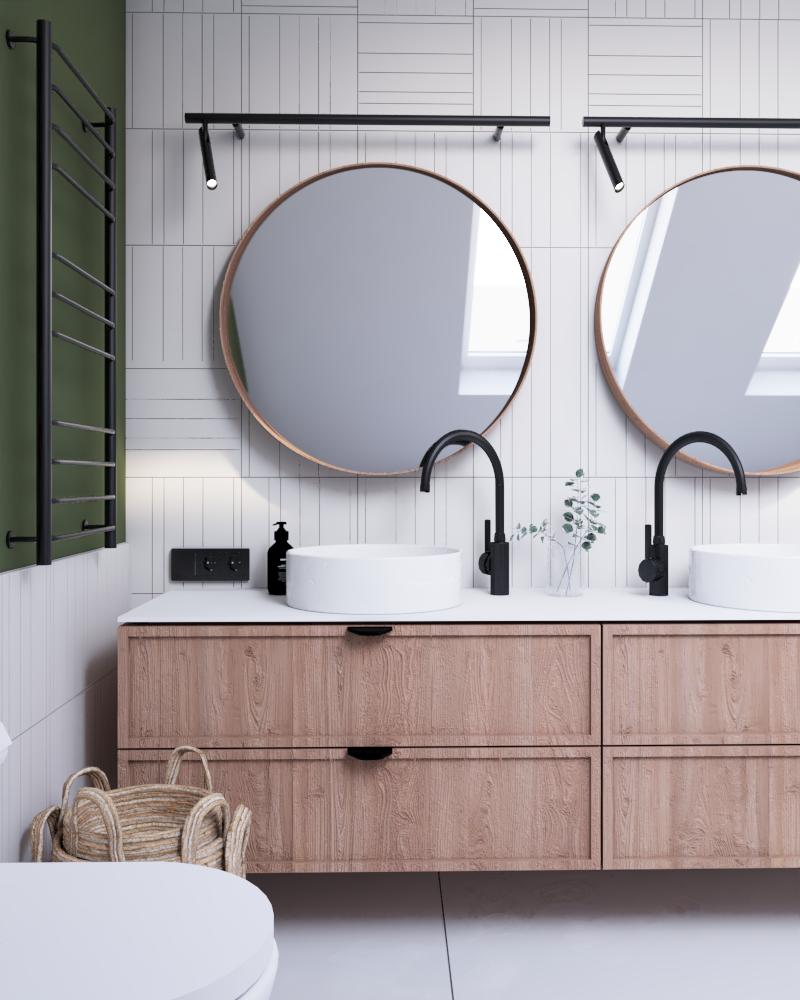 okrągłe lustra wdomu jednorodzinnym nowoczesnym typu stodoła