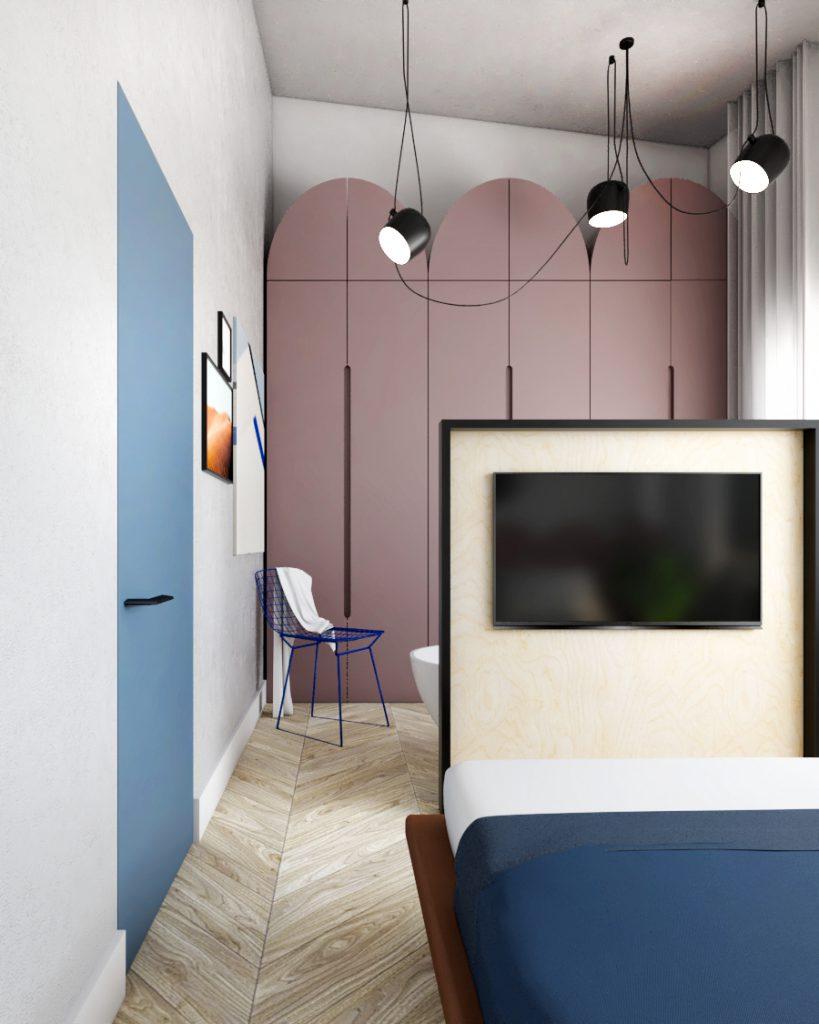 przestrzeń sypialni zstrefą kąpielową dom Strzeszyn ZONA Architekci