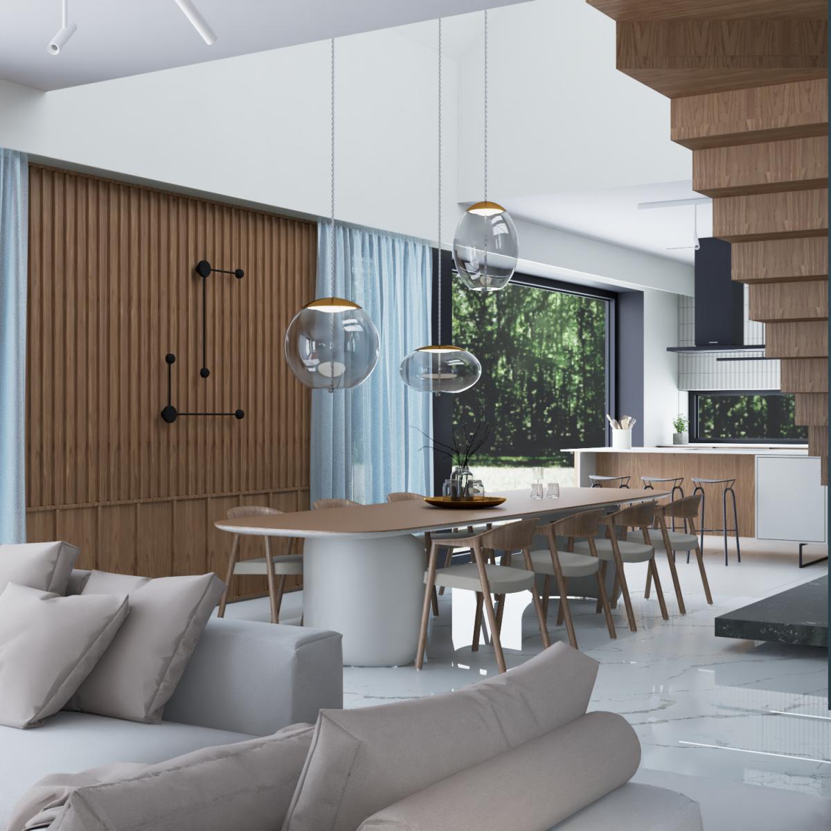 Wnętrze domu jednorodzinnego w Siedlcu widok na aneks kuchenny z salonem