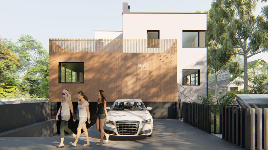 Drewniana frontowa elewacja domu jednorodzinnego znowoczesną iproekologiczną technologią wewnątrz