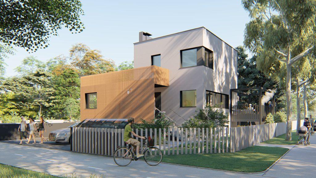 Widok naelewację frontową domu jednorodzinnego poprzebudowie istniejącego budynku wPoznaniu