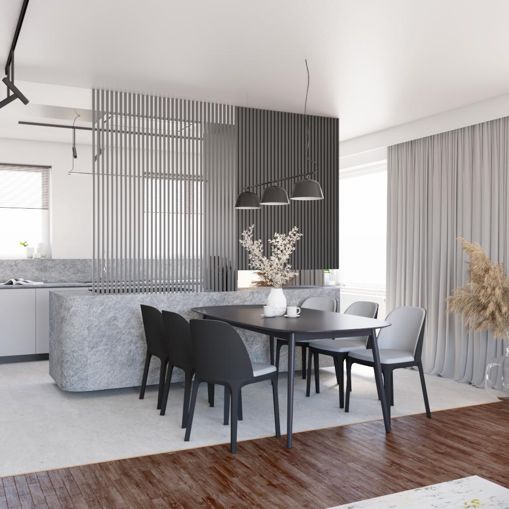 Projekt wnętrz nowoczesnego domu jednorodzinnego podWarszawą, strefa dzienna - widok nawyspę kuchenną wraz zestrefą jadalni przy zachowaniu obecnej posadzki drewnianej wsalonie.