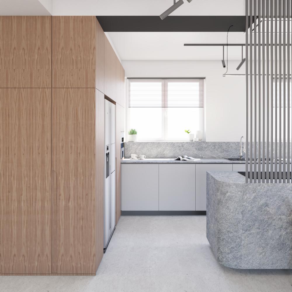 WIdok nawejście doaneksu kuchennego wdomu projektowanym nowoczesnym. Wygodna wysoka zabudowa zdwiema funkcjami - kuchenną zwysoką lodówką wolnostojącą orazgarderobianą odstrony wejścia dobudynku.