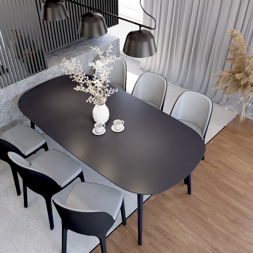 Widok nastół jadalniany zkrzesłami Fameg izwieszaną lampą wstrefie dziennej  przy salonie wdomu jednorodzinnym podWarszawą.