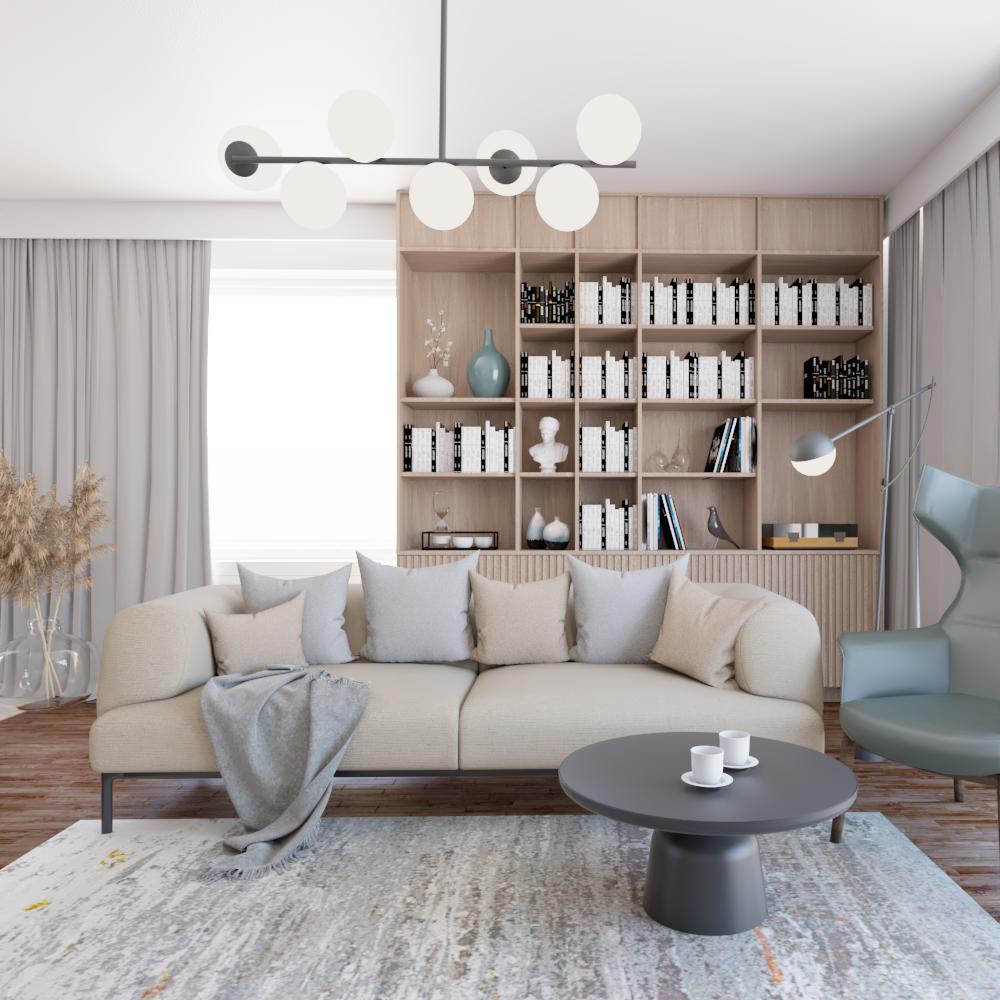 Wygodna sofa nanóżkach orazfotel wstylu boho wobecnym salonie - adaptacja projektu przy zachownaiu posadzki istniejącej wdomu jednorodzinnym podWarszawą.