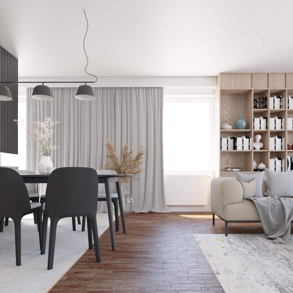Widok na jadalnię w domu jednorodzinnym, projekt wnętrz domu nowoczesnego, strefa dzienna