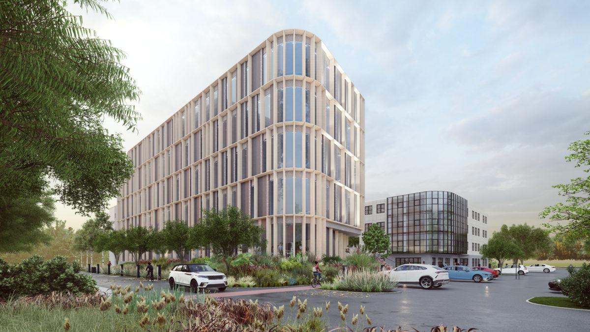 Budynek biurowy zlokalizowany na terenie Poznania, widok na nowy budynek biurowy