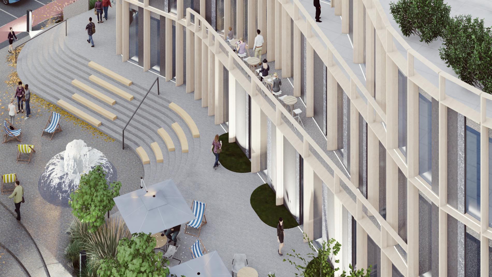 Widok zlotu ptaka nawejście główne dobudynku biurowego wPoznaniu, projekt architektoniczny nowego obiektu zfunkcją biurową, showroomem, kantyną iparkingiem podziemnym