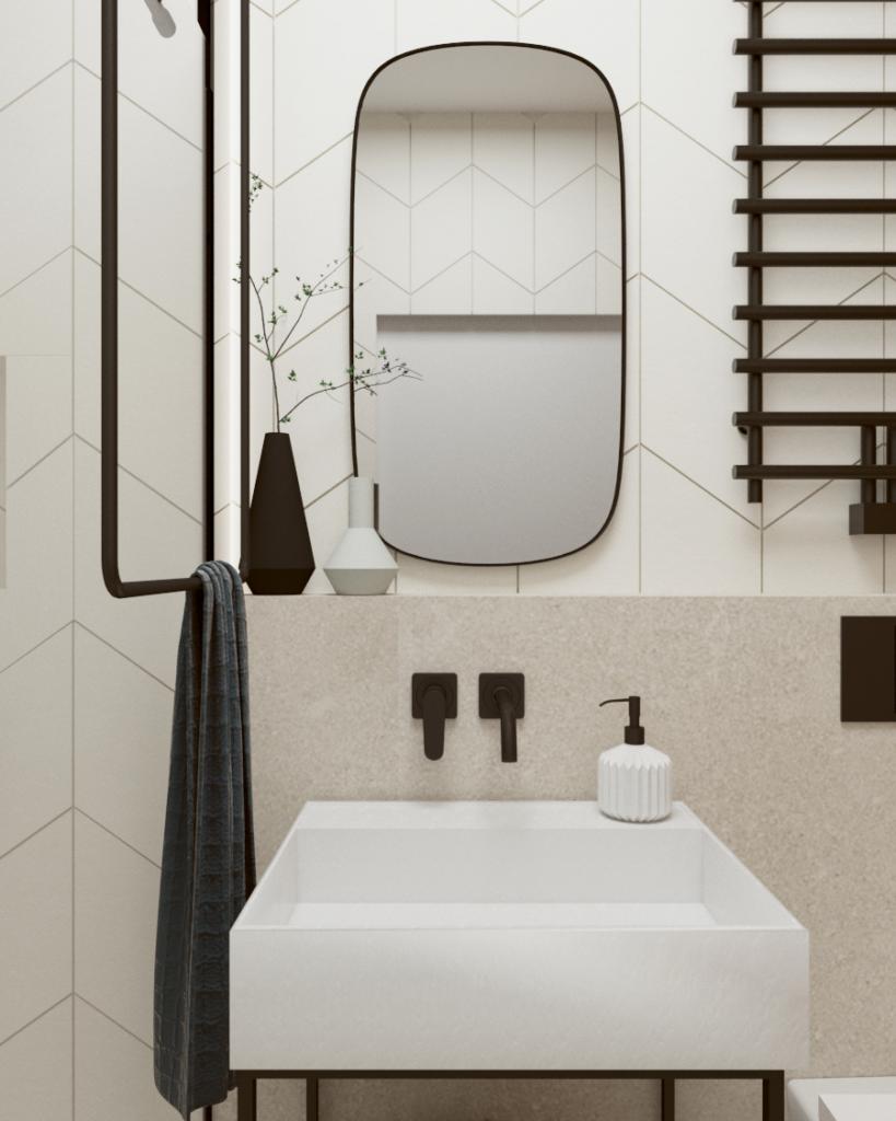Małe wc zindustrialną umywalką nastelażu orazlustrem wkształcie opływowym